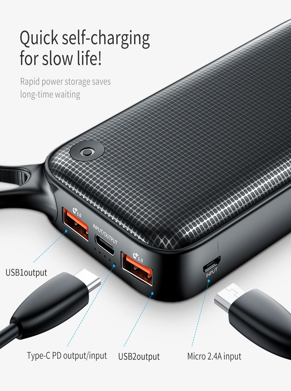 Baseus 20000mAh Quick Charge 3.0 Power Bank For Xiaomi Mi 000 mAh USB C PD Fast Portable External Battery Charger Powerbank 11