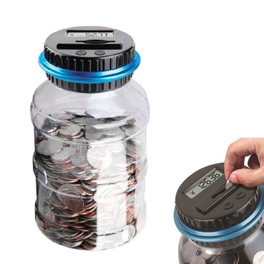 2pcs Digital Coin Bank Money Saving Jar Coin Container With LCD For Adults Kids