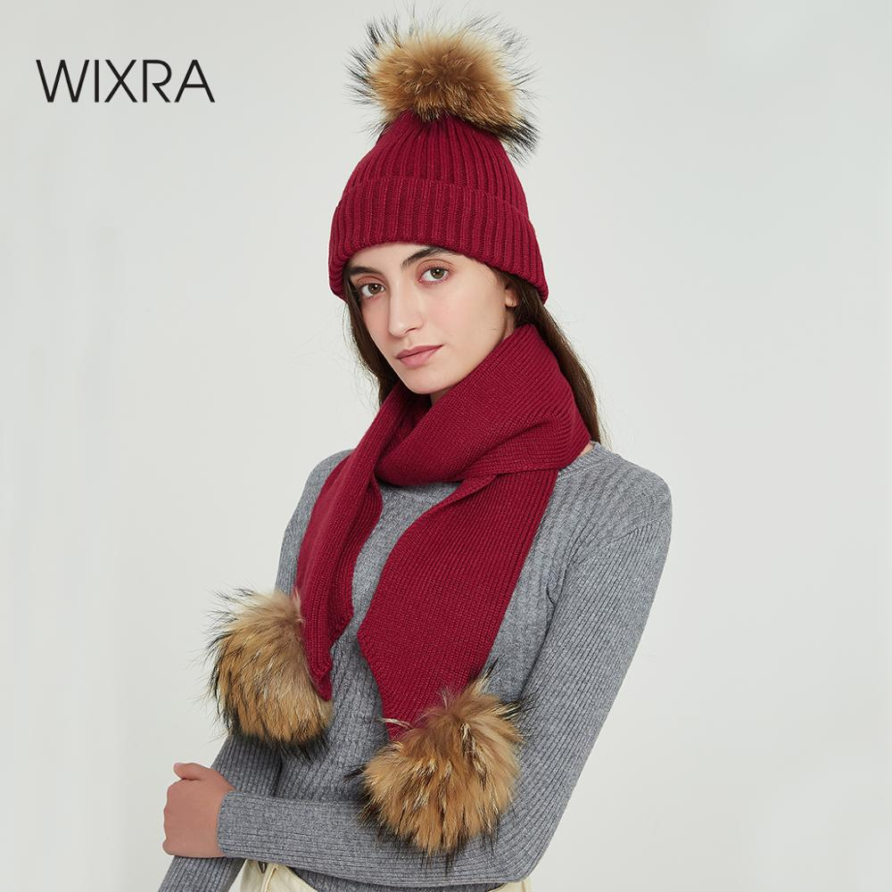 Wixra Fox Fur Ball Cap Poms+Knitted Scarf 2 Piece Set Winter Clothing Beanies Cap New Thick Female Cap Autumn