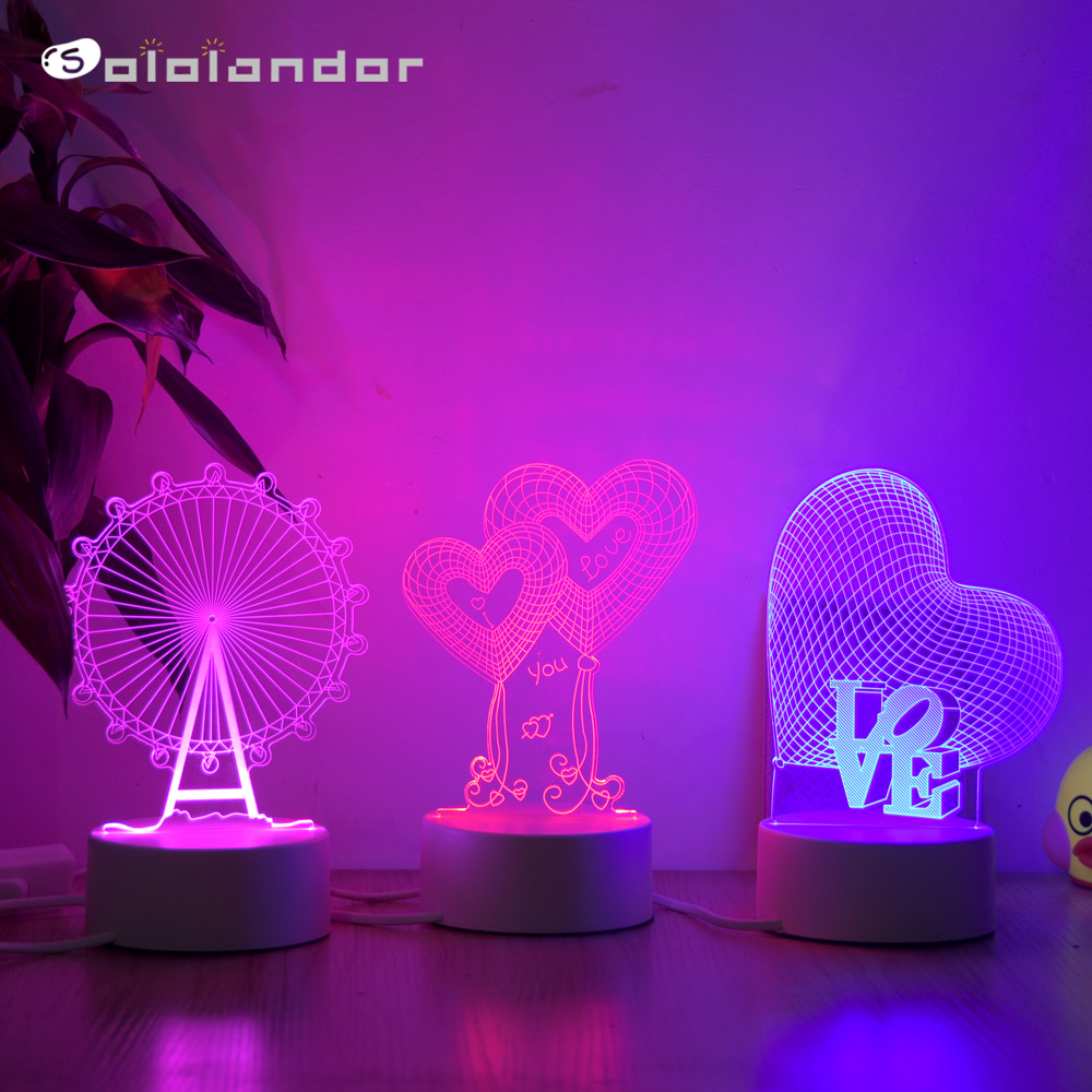 SOLOLANDOR Love 3D Lamp Creative 3 Colors Night Lights Novelty Illusion Night Lamp Illusion Table Lamp For Home Decorative Light