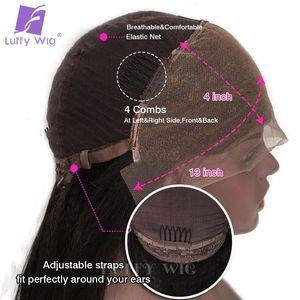 Image 5 - 13 × 4カーリーレースフロントウィッグ180密度グルーレス深部prepluckedレミーブラジル人毛ウィッグ漂白ノット女性のためのルフィ