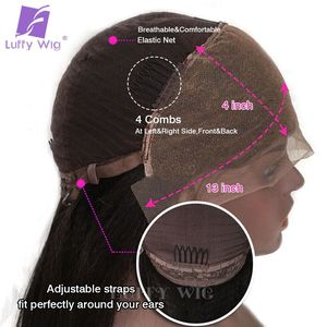 Image 5 - 13x4 Curly Lace Front Wig 180Density Glueless Deep Part Preplucked Remy Brazilian Human Hair Wigs Bleached Knots For Women LUFFY