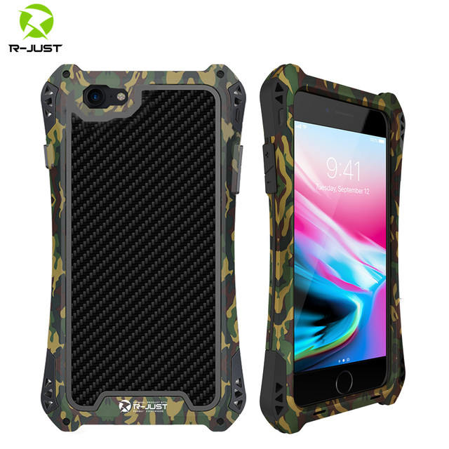 R JUST Metal Case for iPhone 7 8 Plus X XR XS MAX Cover Shockproof Hybrid Rugged Armor Case for iPhone 7 8 11 Pro Max Cover