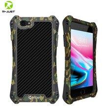 R JUST Metal iphone için kılıf 7 8 artı X XR XS MAX kapak darbeye hibrit sağlam zırh iphone için kılıf 7 8 11 Pro max kapak