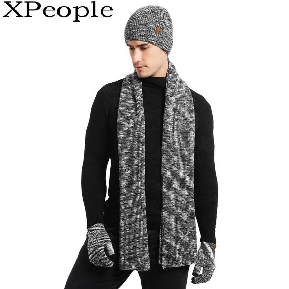 XPeople Knit Hats Scarf And Gloves Set Winter Accessories For Women And Men Set Soft Fleece Lined Soft Warm Beanie