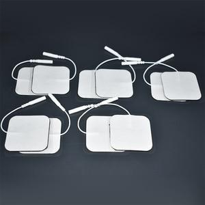Image 3 - 20/50/100 Pcs 5x5cm 2mm Plug Reusable electrodes Tens Electrode Pads For Nerve Muscle Stimulator Digital Physiotherapy Massager