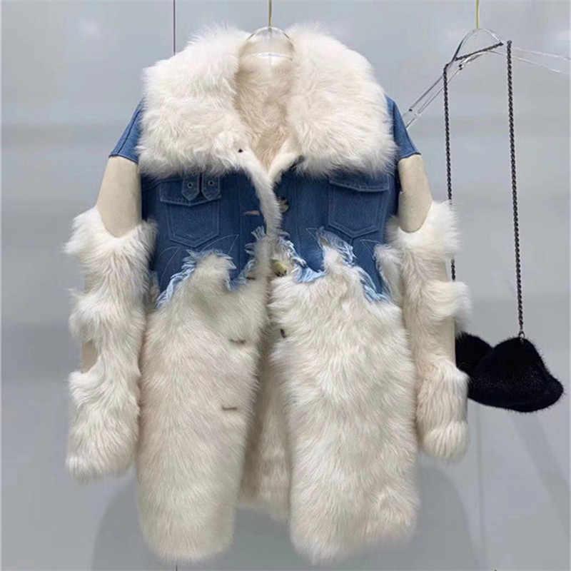 Doppel gesicht mantel frauen 2019 echtem leder schafe wolle pelz jacke patchwork denim winter mantel frauen