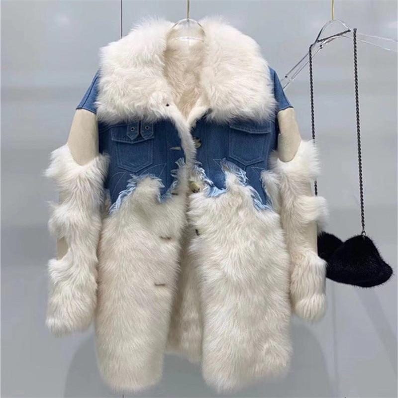 Double Face Coat Women 2019 Genuine Leather Sheep Wool Fur Jacket Patchwork Denim Winter Coat Women