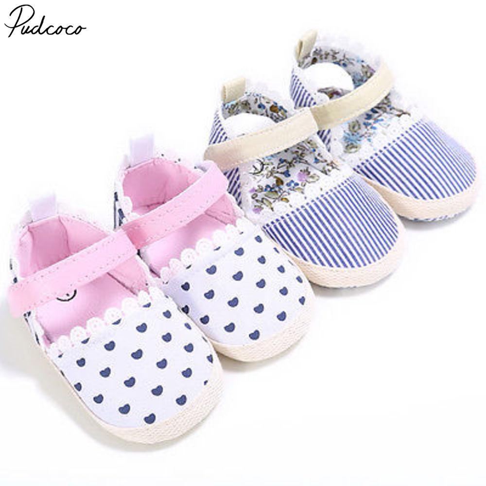 Pudcoco Casual Newborn Baby Girl Heart Crib Shoes Non-slip Kids Soft Sole 0-18m
