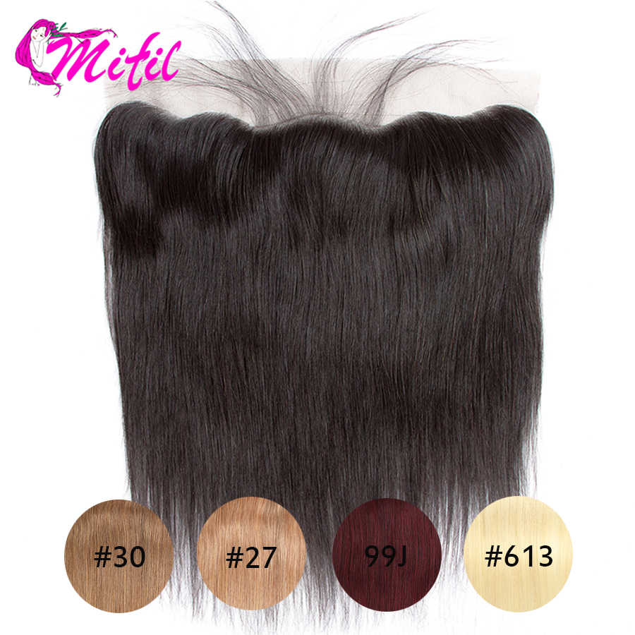 Mifil Brazilian Straight Closure 13X4 Ear To Ear 613 Transparent Lace Frontal Closure Remy Human Hair Closure 99J 27 30