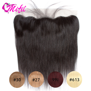 Mifil Brazilian Straight Closure 13X4 Ear To Ear 613 Transparent Lace Frontal Closure Remy Human Hair Closure 99J 27 30(China)