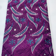 Lace Fabric Voile Embroidery Nigerian Purple African High-Quality Cotton Latest YSH035