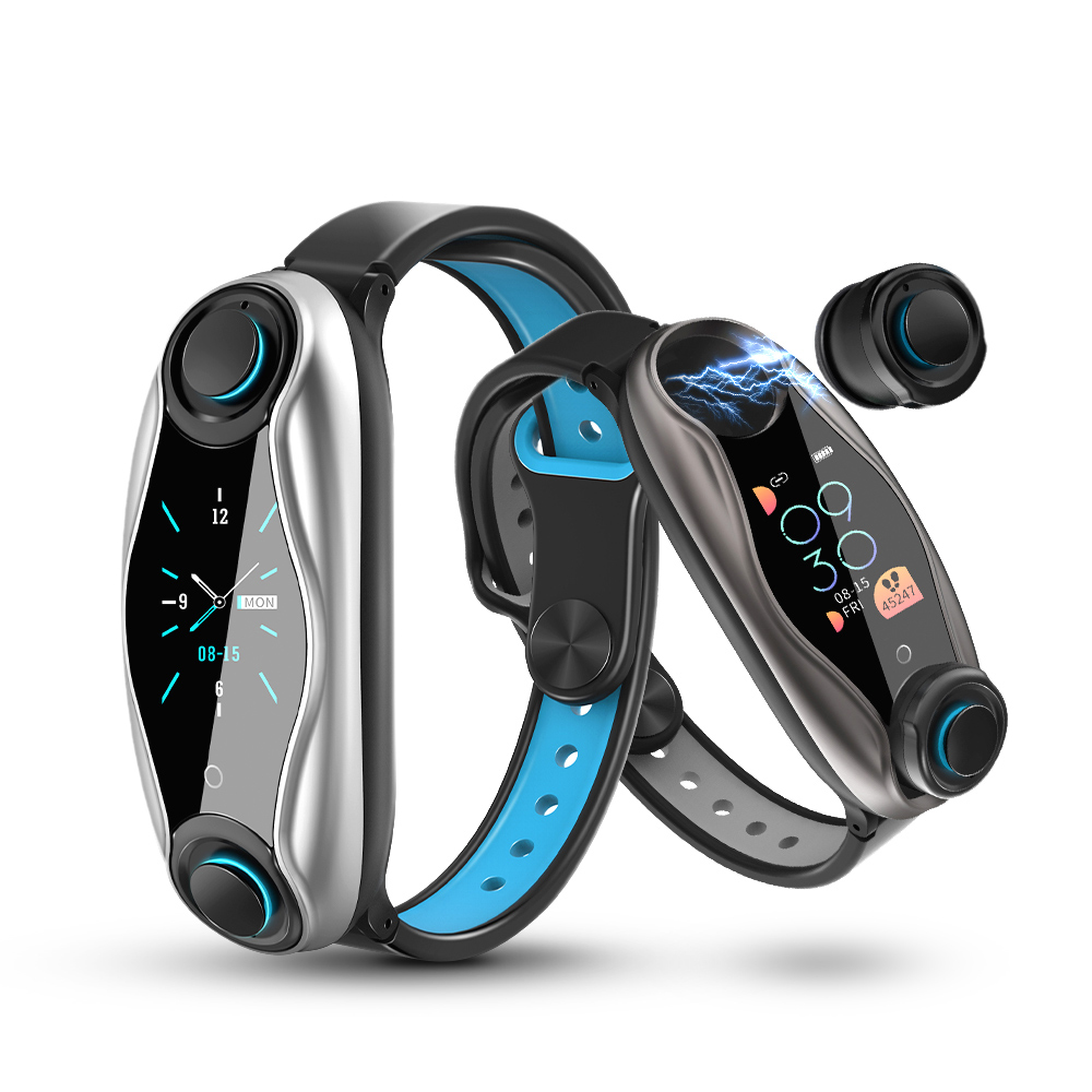 Новинка фитнес браслет T90 с Bluetooth наушниками V5.0 IP67 водонепроницаемые спортивные