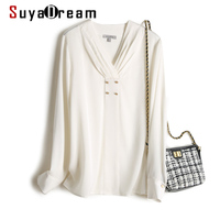 SuyaDream Silk Blouses Woman REAL SILK CREPE White Long Sleeve V neck Blouse Shirt 2020 Autumn Office Chic Shirt