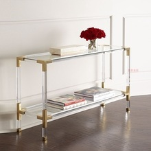 Console-Table Acrylic-Made with Glass Tabletop/80cm High-35cm-Width Clear 10x-Pack