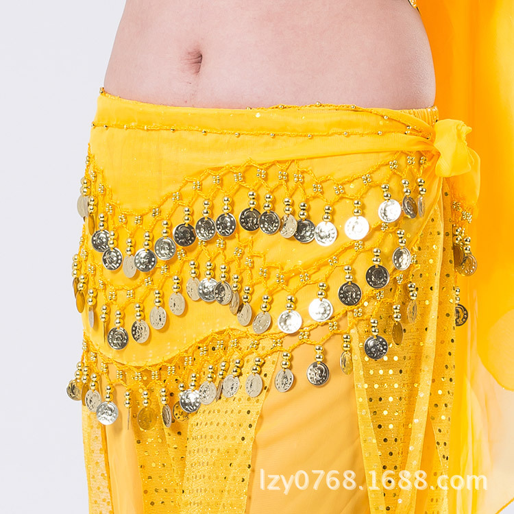 2019 Belly Dance  Tone Coins Waist Chain Wrap Lady Women Dance Wear Hip Scarf Accessories 3 Row Belt Skirt With Gold Bellydance