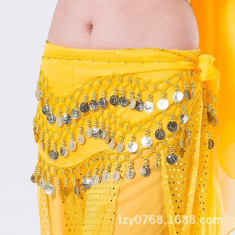 2019 Belly Dance  Tone Coins Waist Chain Wrap Lady Women Dance Wear Hip Scarf Accessories 3 Row Belt Skirt With Gold Bellydance