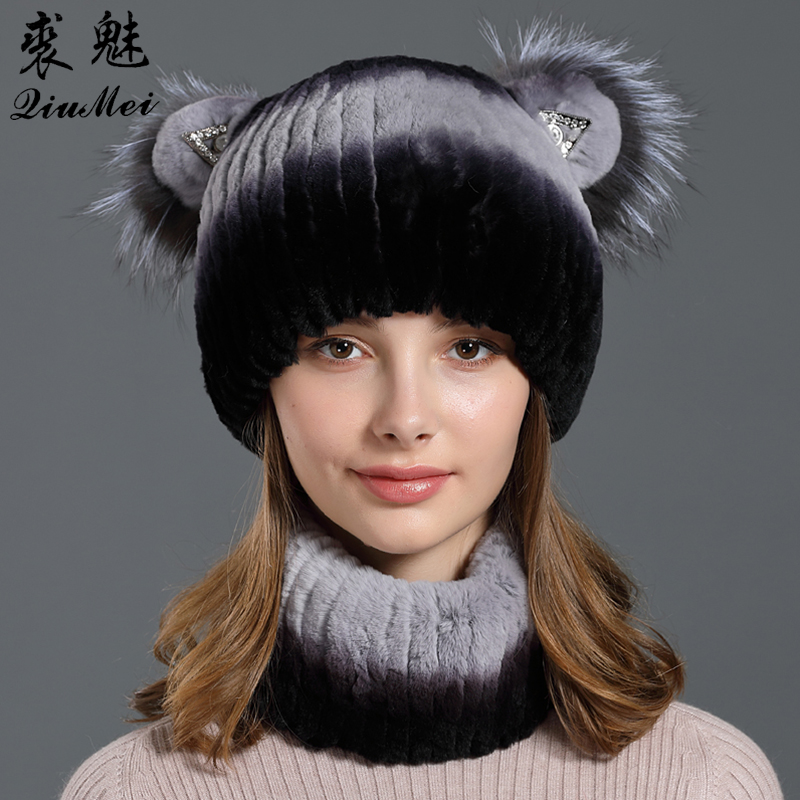 Women Winter Real Fur Sets Cap Scarf Real Rex Rabbit Fur Lined Knitted Beanies Cute Fox Thicken Fur Neck Ring Genuine Fur Hat