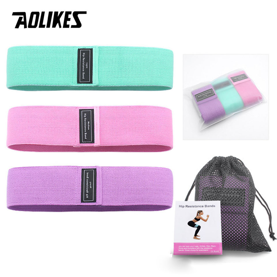 AOLIKES Fitness Hip Loop Resistance Bands Anti-slip Squats Expander Strength Rubber Bands Yoga Gym Training Braided Elastic Band