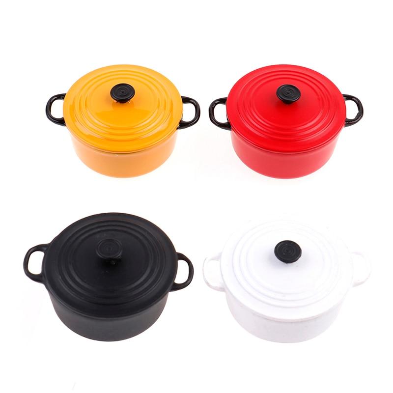 Mini Pot Boiler Pan 1:12 Dollhouse Miniature Kitchen Utensils Cooking WareDoll House Accessories Play Kitchen Toy