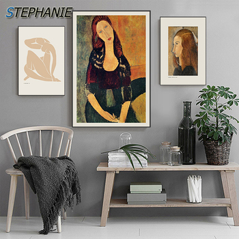 Famous Abstract Modigliani Figure Canvas Painting Matisse Naked Woman Poster Picasso Wall Art Picture Living Room tableaux salon image