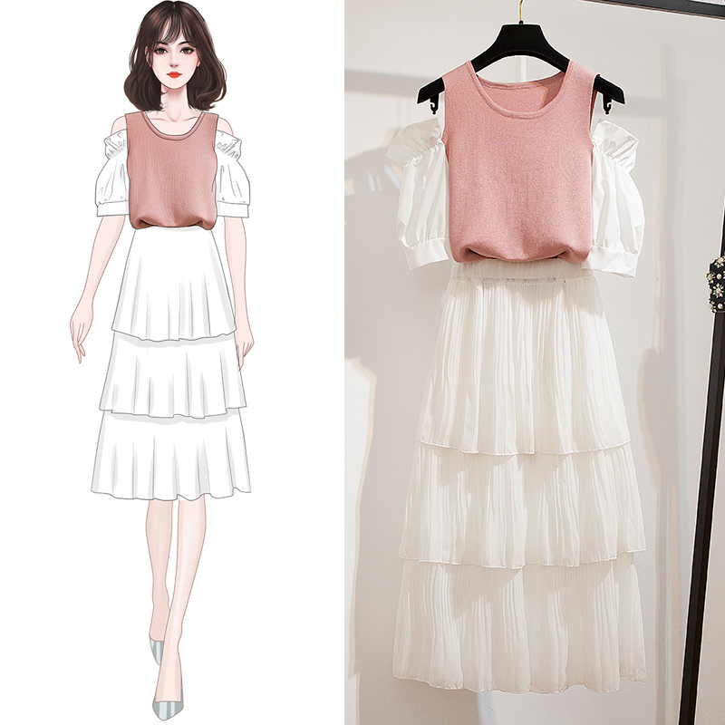 Korea Hollow Out Off Shoulder T-Shirt Layered Swing Mid-Calf Skirt Two Piece Suits Sweet Princess Dress