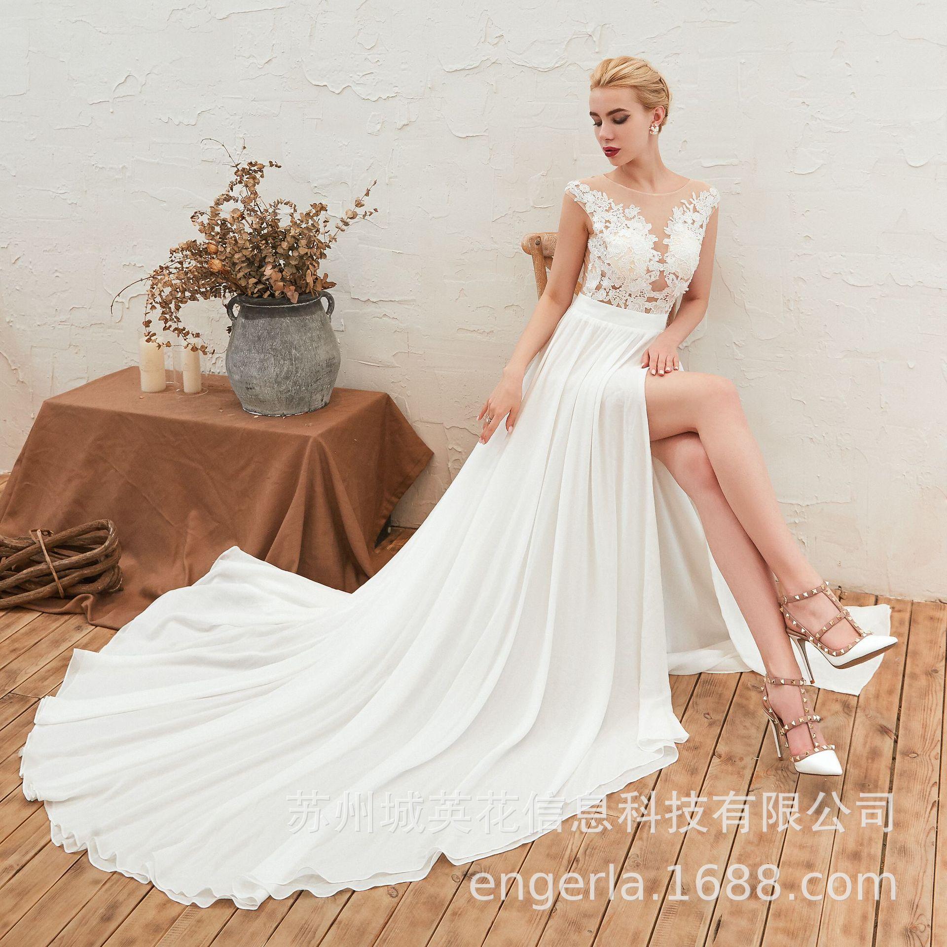 Beach Wedding Dresses 2019 Split White Chiffon Cap Sleeve See Through Lace Sexy Bridal Mariage De Novia Bride Robe Mariee Modest