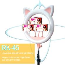 20 אינץ LED Selfie טבעת אור חתול אוזן Dimmable רמת 10 צילום תאורה עבור איפור וידאו Youtube קעקוע טלפון סטודיו אור