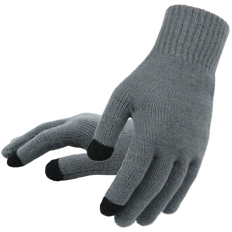 Men's Knitted Gloves Winter Autumn Male Touch Screen Gloves High Quality Plus Thin Velvet Solid Warm Mittens Business