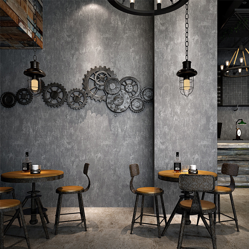 Vintage Industrial-Style Wallpaper Nostalgic Gray Cement Mottled Graffiti Internet Cafes Loft Bar Clothing Store Decoration Wall
