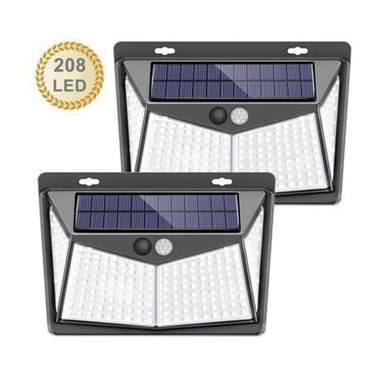 Solar Lights Outdoor 208Leds IP65 Waterproof Wireless PIR Motion Sensor Wall LED Light Solar Lamp 3 Modes Solar Powered Sunlight