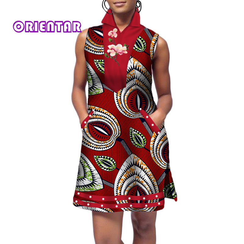 Casual Sleeveless Short Dresses For Women African Wax Print Floral Dress Bazin Riche Clothes Traditional Design Clothing WY356