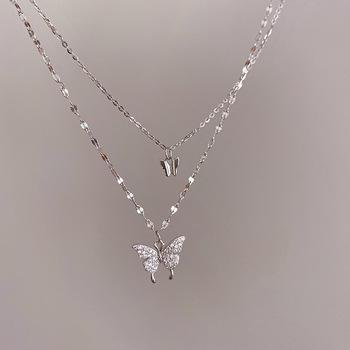 LISM kolor srebrny Flash Crystal Butterfly podwójny naszyjnik dla kobiet prosta konstrukcja Crystal eleganckie prezenty ślubne biżuteria tanie i dobre opinie Miedziane Kobiety Wisiorki CN (pochodzenie) TRENDY Łańcuszek typu O NASZYJNIKI Metal GEOMETRIC Zgodna ze wszystkimi Ślub