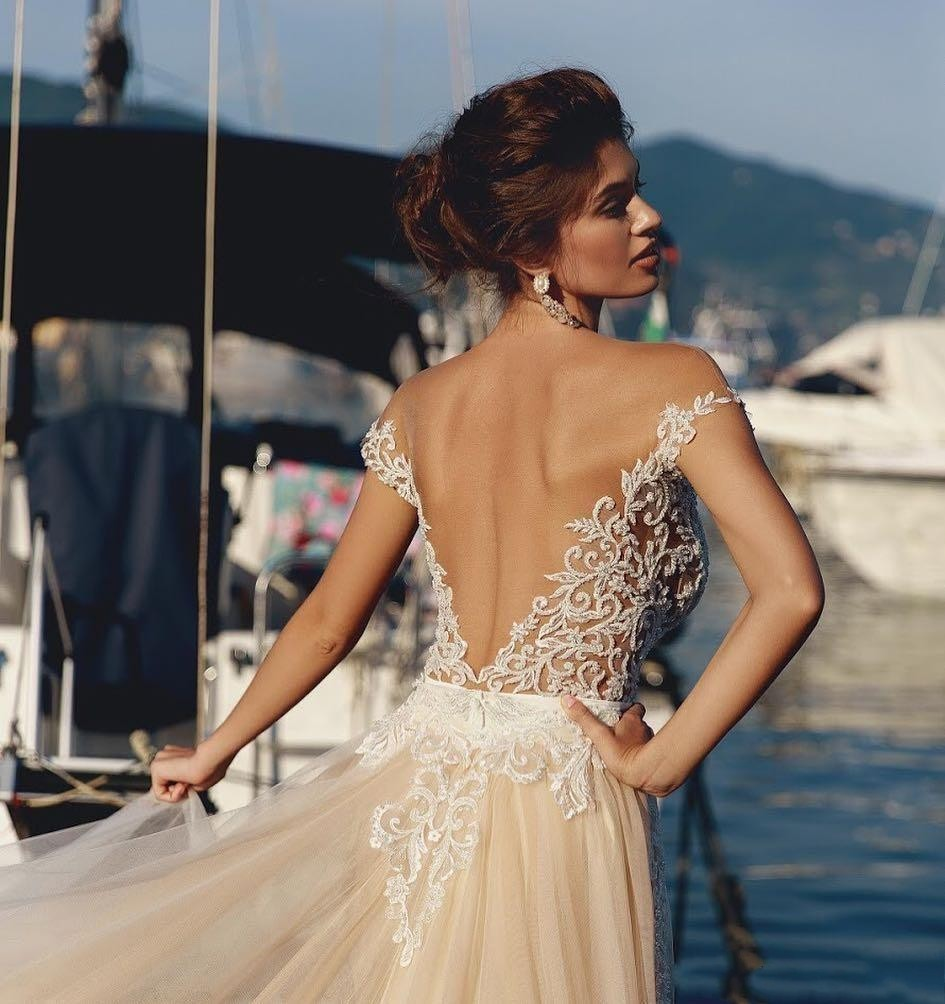 Elegant Mermaid Backless Beads Wedding Dresses Sheer Off The Shoulder Lace Bridal Gowns With Detachable Train vestido de novia