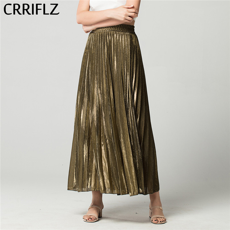 CRRIFLZ Spring Autumn High Waist Skirts Golden Slim Pleated Skirt Women's Simple A-line Skirt Streetwear Beach Skirt