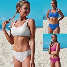 цена на Sexy Bikini-Set Swimsuit Women Solid Color Nylon Jacquard Bikini European And American Vest Triangle Swimsuit