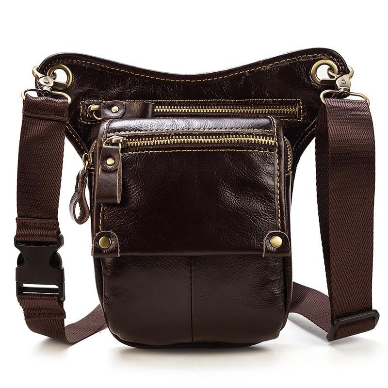 Waist Leg Bag Fishing Genuine Leather Waist Bag 883 Men Leg Moto Steampunk Bag Men