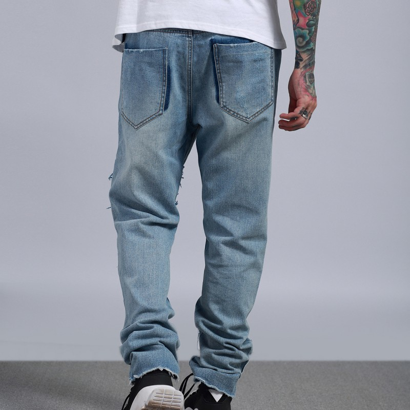 Fashion Mens Denim Long Pants Vintage Frayed Patchwork Wide Leg Jeans Street Hip Hop Washed Biker Zipper Quality Trousers Men