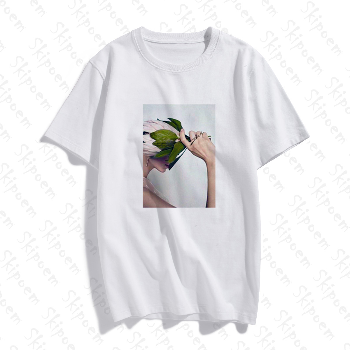 2020 New Flower Leaf T-shirt Women Kawaii Vintage Tumblr Punk Gothic Aesthetic Plus Size Short Sleeve Cotton Clothes Streetwear