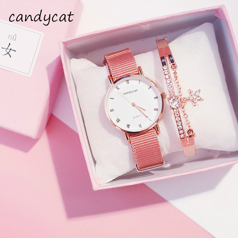 CandyCat Cherry Blossom Watches Female Korean Version Of Simple Fashion And Trends In The Retro Sakura Fen Womens Watch Small