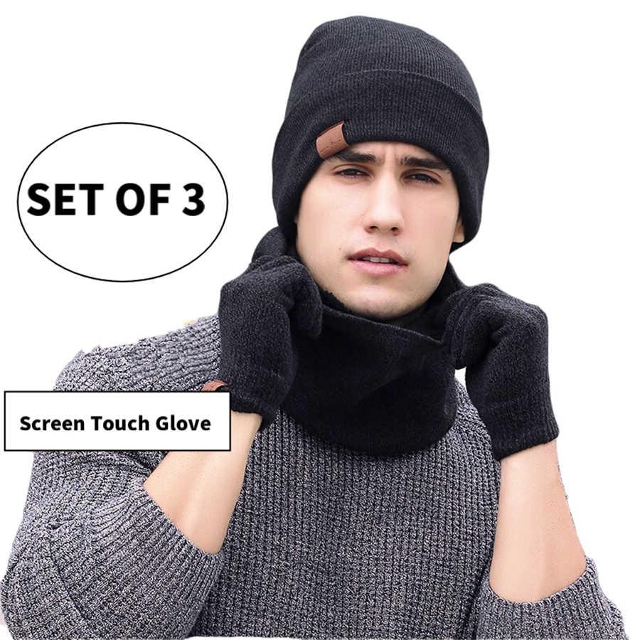 סטי 3 חורף יוניסקס סרוג בימס כובעי גברים כובע חם עם סינר מגע מסך כפפות נשים מצנפת כפת כובע חיצוני רכיבה סט