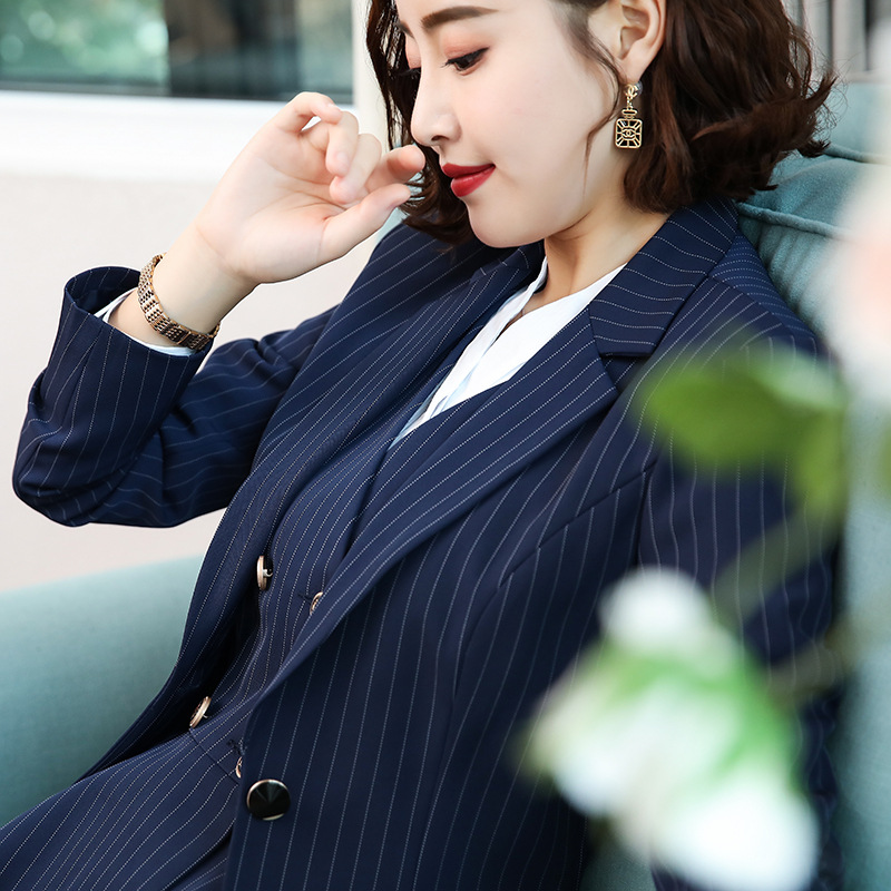 Autumn And Winter New Style One-Button Large Size Business WOMEN'S Dress Slim Fit Stripes Women's Bank Work Wear Long-sleeve Sui
