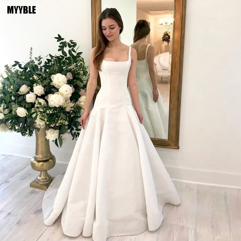 MYYBLE 2020 New Arrival Sheath Wedding Dress Square Collar Sexy Bridal Gown Backless With Sweep Train Vestido De Noiva Simple