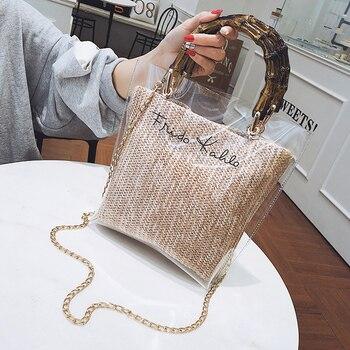 Summer 2020 Small Handbag Transparent Women Hand Bags Chain Straw Bag Lady Travel Beach Shoulder Cross Body Bag Travel Chain