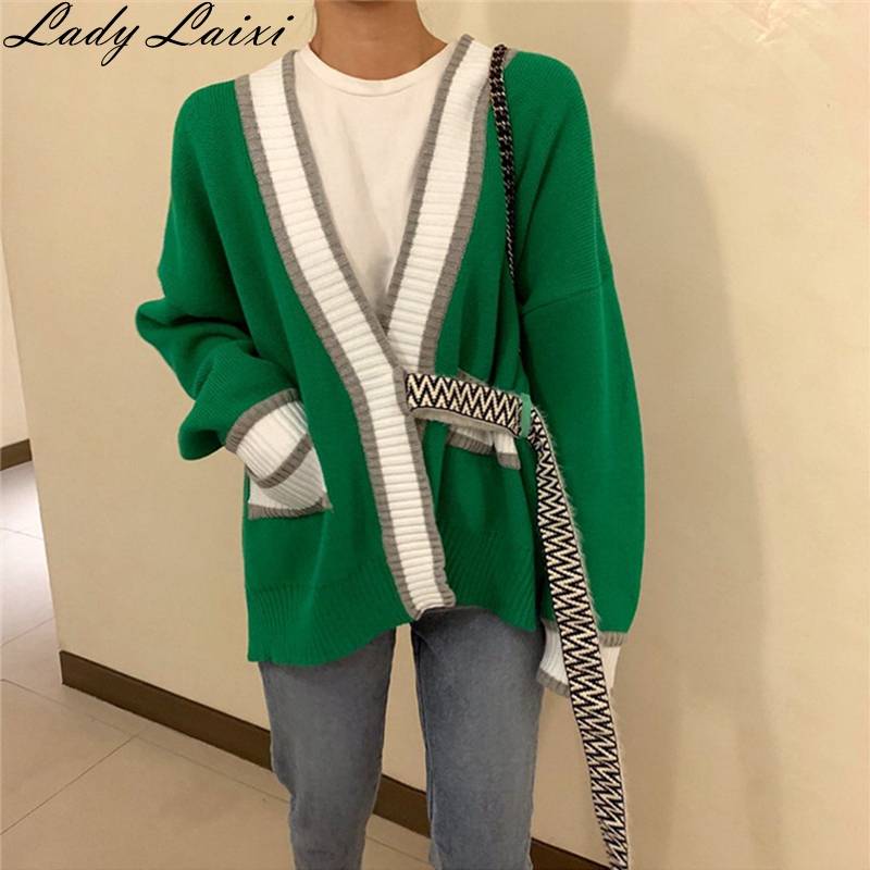 Best Discount  Autumn Winter Korean Casual Sweater Patchwork Color V-neck Loose Long Sleeve Knitted Cardigans Coat