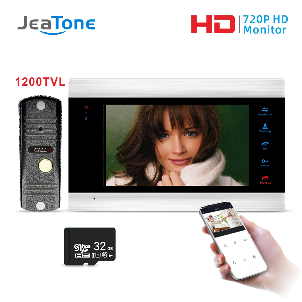 Jeatone 7'' WiFi Smart IP Video Door Phone Intercom System With Waterproof 1200TVL Mini Doorbell Camera, Support Remote Unlock