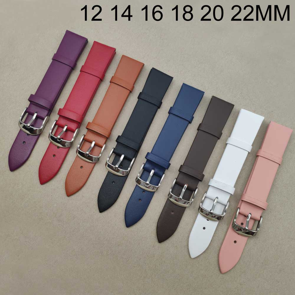 Colorful leather <font><b>watch</b></font> <font><b>strap</b></font> <font><b>12</b></font> 14 16 18 20 22 <font><b>mm</b></font> Men Women <font><b>Watch</b></font> belt watchbands genuine <font><b>watch</b></font> band accessories wristband Male image