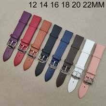 Correa de reloj de cuero para hombre y mujer, correa de reloj colorida de 12, 14, 16, 18, 20 y 22mm, accesorios de pulsera para hombre y mujer