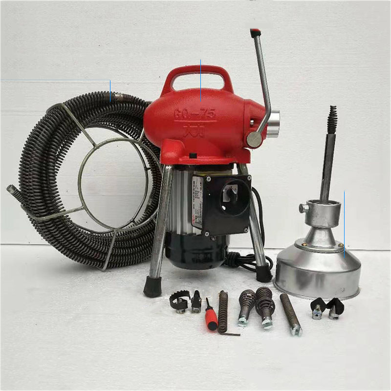 STJ-75 220V/110V 750W Electric Pipeline Dredge Machine Waterproof Pure Copper Motor Aluminum Heat Sink Clean Up The Sewer Tools