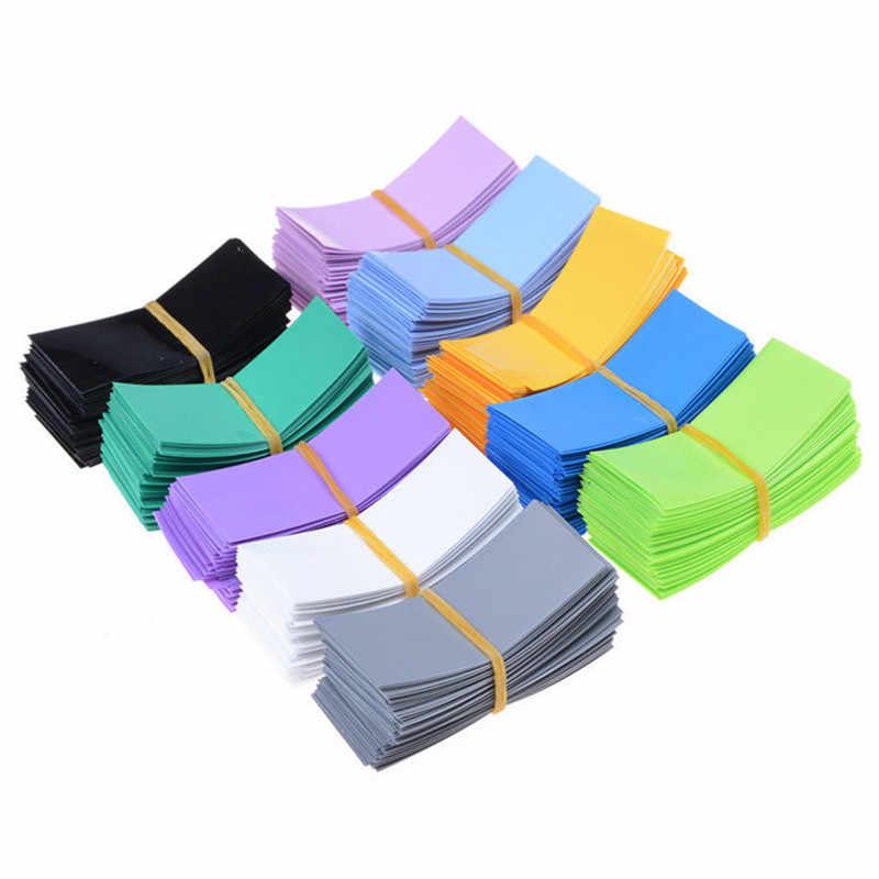 100 adet/grup Pil Sarma PVC Isı Shrink boru Pil Sarma Kesik Boyutu 72*18.5mm Pil Filmi Bant Pil kapak 8 Renk Seçimi